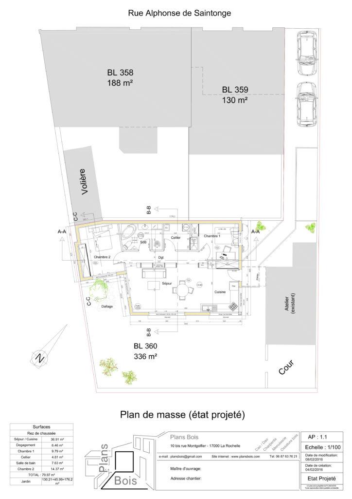 Maison - Plan de masse Projete